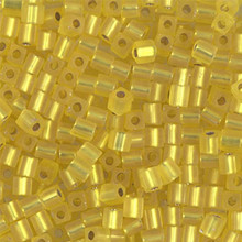 Japanese Miyuki 3x3 Cube Seed Bead, SKU 188003.SB3-0006F, matte silver lined yellow, (1 24-28gr tube, apprx 440 beads)