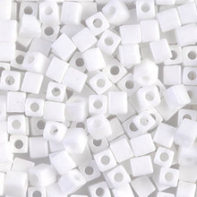 Japanese Miyuki 4x4 Cube Seed Bead. SKU 189004.SB4-0402, white, (1 24-28gr tube, apprx 336 beads)
