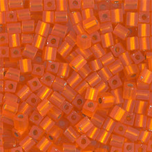 Japanese Miyuki 3x3 Cube Seed Bead, SKU 188003.SB3-0008F, matte silver lined orange, (1 24-28gr tube, apprx 440 beads)