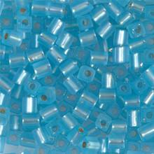 Japanese Miyuki 4x4 Cube Seed Bead. SKU 189004.SB4-0018F, matte silver lined aqua, (1 24-28gr tube, apprx 336 beads)