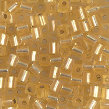 Japanese Miyuki 4x4 Cube Seed Bead. SKU 189004.SB4-0003F, matte silver lined gold, (1 24-28gr tube, apprx 336 beads)