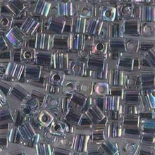 Japanese Miyuki 4x4 Cube Seed Bead. SKU 189004.SB4-0283, noir lined crystal ab, (1 24-28gr tube, apprx 336 beads)