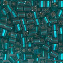 Japanese Miyuki 4x4 Cube Seed Bead. SKU 189004.SB4-2425F, matte silver lined teal, (1 24-28gr tube, apprx 336 beads)