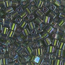 Japanese Miyuki 4x4 Cube Seed Bead. SKU 189004.SB4-1026, silver lined olive ab, (1 24-28gr tube, apprx 336 beads)