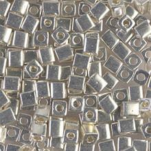 Japanese Miyuki 4x4 Cube Seed Bead. SKU 189004.SB4-1051, galvanized silver, (1 24-28gr tube, apprx 336 beads)