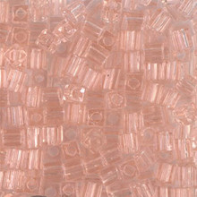 Japanese Miyuki 4x4 Cube Seed Bead. SKU 189004.SB4-0155, transparent light tea rose, (1 24-28gr tube, apprx 336 beads)