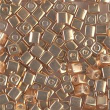 Japanese Miyuki 4x4 Cube Seed Bead. SKU 189004.SB4-1052, galvanized gold, (1 24-28gr tube, apprx 336 beads)
