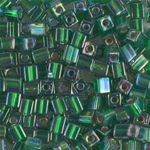 Japanese Miyuki 4x4 Cube Seed Bead. SKU 189004.SB4-1016, silver lined green ab, (1 24-28gr tube, apprx 336 beads)