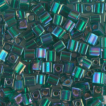 Japanese Miyuki 4x4 Cube Seed Bead. SKU 189004.SB4-1017, silver lined emerald ab, (1 24-28gr tube, apprx 336 beads)