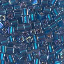 Japanese Miyuki 4x4 Cube Seed Bead. SKU 189004.SB4-1025, silver lined capri blue ab, (1 24-28gr tube, apprx 336 beads)
