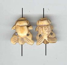 Oriental Bone, Carved Bead, Fantail Fish, 16x22mm, ivory, (4 beads)