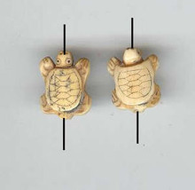 Oriental Bone, Carved Bead, Turtle, 15x18mm, ivory, (2 beads)