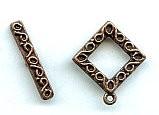 Toggle Clasp, Pewter, copper antique plate, Fancy Square, Medium, 15mm, (1 clasp set)