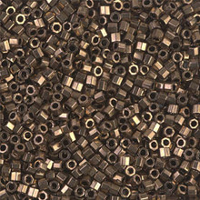 Miyuki 10/0 Medium Delicas, SKU 195016.DBM10-0022cut, metallic dark bronze cut, (1 10gram tube, apprx 1000 beads)