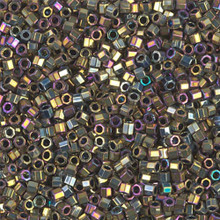 Miyuki 10/0 Medium Delicas, SKU 195016.DBM10-0029cut, metallic golden olive iris cut, (1 10gram tube, apprx 1000 beads)