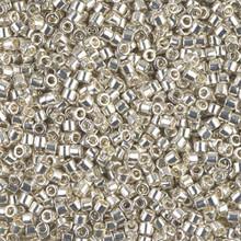 Miyuki 10/0 Medium Delicas, SKU 195016.DBM10-0035, galvanized silver, (1 10gram tube, apprx 1000 beads)