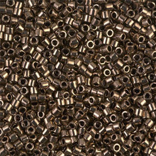 Miyuki 10/0 Medium Delicas, SKU 195016.DBM10-0022, metallic dark bronze, (1 10gram tube, apprx 1000 beads)