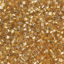 Miyuki 10/0 Medium Delicas, SKU 195016.DBM10-0042cut, silver lined gold cut, (1 10gram tube, apprx 1000 beads)