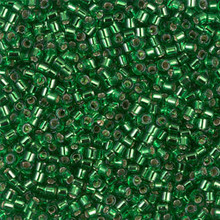 Miyuki 10/0 Medium Delicas, SKU 195016.DBM10-0046, green silver lined, (1 10gram tube, apprx 1000 beads)