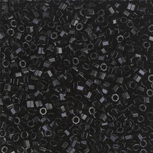 Miyuki 10/0 Medium Delicas, SKU 195016.DBM10-0010cut, black cut, (1 10gram tube, apprx 1000 beads)