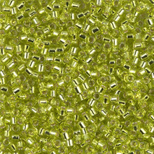 Miyuki 10/0 Medium Delicas, SKU 195016.DBM10-0147, chartreuse silver lined, (1 10gram tube, apprx 1000 beads)