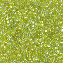 Miyuki 10/0 Medium Delicas, SKU 195016.DBM10-0174, transparent chartreuse ab, (1 10gram tube, apprx 1000 beads)