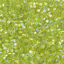 Miyuki 10/0 Medium Delicas, SKU 195016.DBM10-0174cut, transparent chartreuse ab cut, (1 10gram tube, apprx 1000 beads)