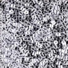 Miyuki 10/0 Medium Delicas, SKU 195016.DBM10-0141, crystal, (1 10gram tube, apprx 1000 beads)