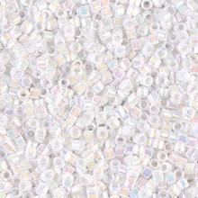 Miyuki 10/0 Medium Delicas, SKU 195016.DBM10-0202, white pearl ab, (1 10gram tube, apprx 1000 beads)