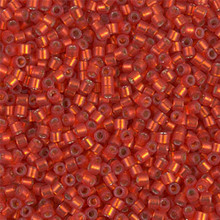 Miyuki 10/0 Medium Delicas, SKU 195016.DBM10-0683, dyed semi-frosted silver lined red orange, (1 10gram tube, apprx 1000 beads)