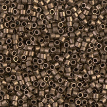 Miyuki 10/0 Medium Delicas, SKU 195016.DBM10-0322, matte metallic dark bronze, (1 10gram tube, apprx 1000 beads)