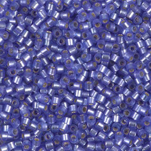 Miyuki 10/0 Medium Delicas, SKU 195016.DBM10-0694, dyed semi-frosted silver lined purple, (1 10gram tube, apprx 1000 beads)