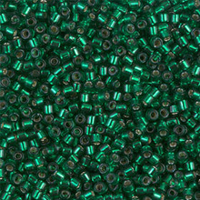 Miyuki 10/0 Medium Delicas, SKU 195016.DBM10-0605, dyed silver lined emerald, (1 10gram tube, apprx 1000 beads)