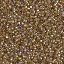 Delica Beads (Miyuki), size 11/0 (same as 12/0), SKU 195006.DB11-0288, white lined saffron ab, (10gram tube, apprx 1900 beads)