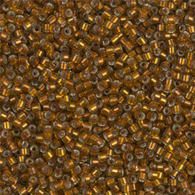 Delica Beads (Miyuki), size 11/0 (same as 12/0), SKU 195006.DB11-1682, silver lined glazed dark honey, (10gram tube, apprx 1900 beads)