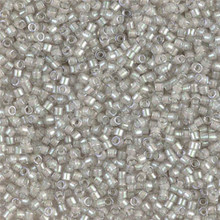 Delica Beads (Miyuki), size 11/0 (same as 12/0), SKU 195006.DB11-1711, pearl lined gray mist ab, (10gram tube, apprx 1900 beads)