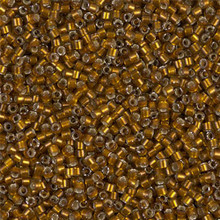 Delica Beads (Miyuki), size 11/0 (same as 12/0), SKU 195006.DB11-1681, silver lined glazed dark saffron, (10gram tube, apprx 1900 beads)
