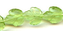21x19mm Glass Leaf Bead, Maple Leaf, Czech Glass, peridot, (25 beads)