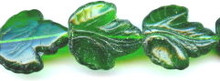 21x19mm Glass Leaf Bead, Maple Leaf, Czech Glass, very dark kelly, (25 beads)