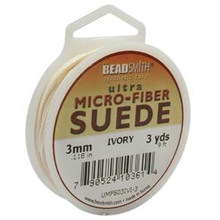 Ultra Micro Fiber Suede Lace, 3.0mm x 1.0mm, Ivory, (3-yard spool)