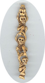 BONE: Oriental Skull Bead, Set of 3 Beads, top drilled, 20x110mm, (1 set of three beads)