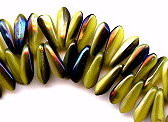 3x11mm Dagger (aka Spearhead) Glass Drop Bead, Czech Glass, yellow coral blue iris, (100 beads)