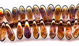 3x11mm Dagger (aka Spearhead) Glass Drop Bead, Czech Glass, gold/smoke topaz luster, (100 beads)
