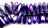 3x11mm Dagger (aka Spearhead) Glass Drop Bead, Czech Glass, coated metallic purple, (100 beads)