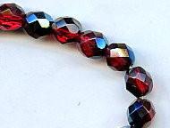 8mm Round Fire Polish Bead, Czech Glass, ruby azuro, (50 beads)