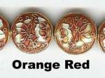Oriental Metal Beads, 18mm disc, orange red, (4 beads)