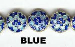 Oriental Metal Beads, 13mm disc, blue, (4 beads)