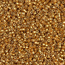Delica Beads (Miyuki), size 11/0 (same as 12/0), SKU 195006.DB11-1833, duracoat galvanized yellow gold, (10gram tube, apprx 1900 beads)