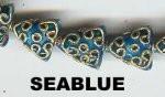 Oriental Metal Bead, 13x13mm flat triangle, sea blue, (4 beads)