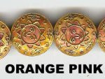 Oriental Metal Beads, 18mm disc, moon face, orange pink, (4 beads)